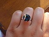 Серебряное кольцо с золотой пластинкой и танзанитом, фото 5