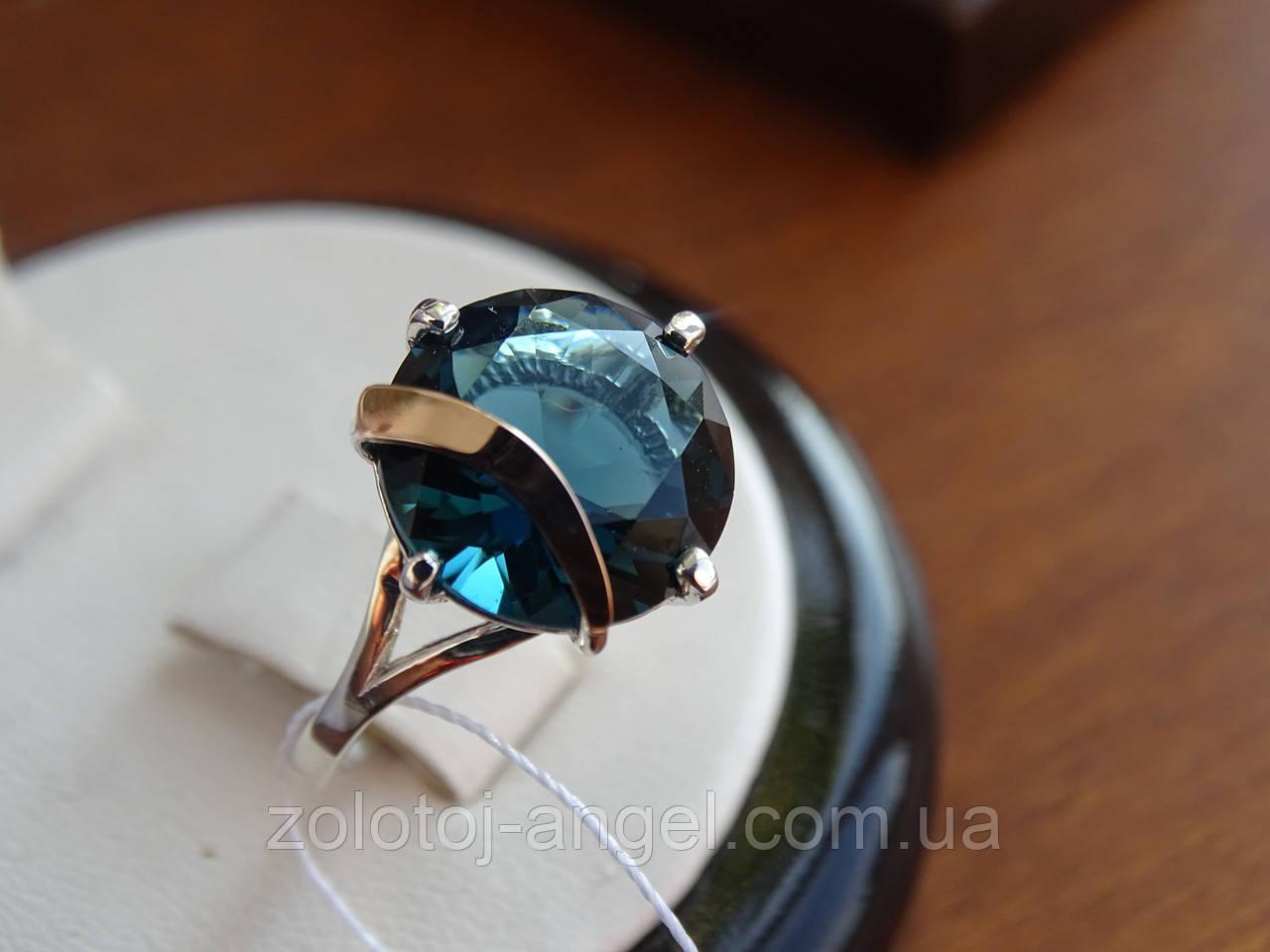 Серебряное кольцо с золотой пластинкой и танзанитом