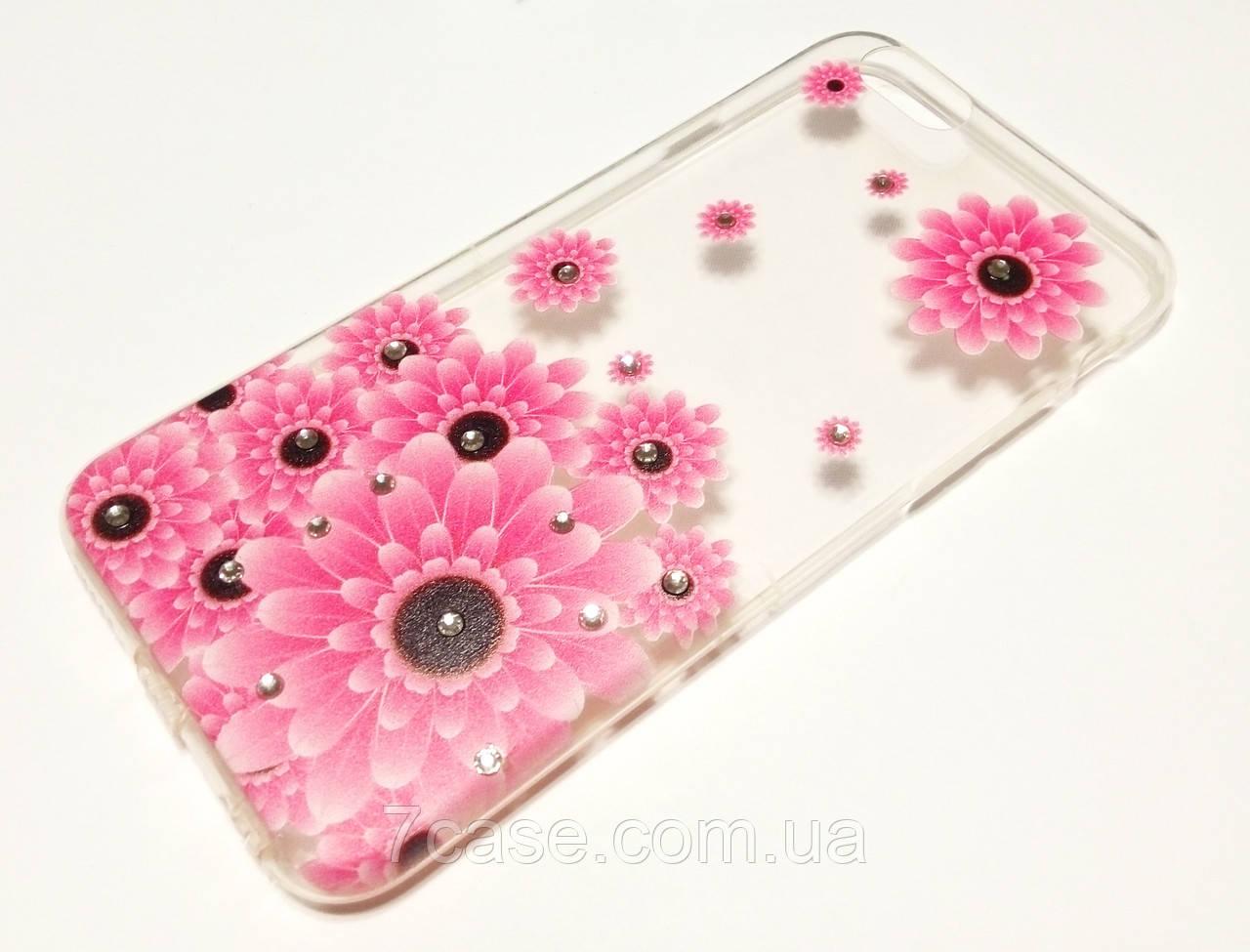 Чехол для iPhone 6 / 6s силиконовый прозрачный с рисунком розовые цветы и стразами