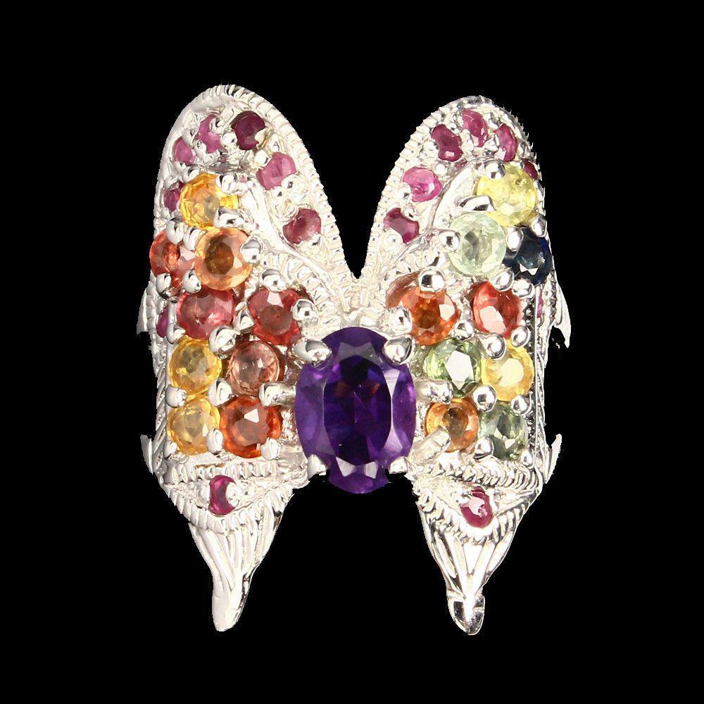 """Кольцо """"Бабочка"""" с натуральным Аметистом, Рубинами и Сапфирами"""