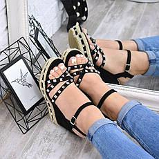 """Босоножки, сандалии, сабо, балетки черные """"Mindy"""" эко замш на платформе повседневная, летняя женская обувь, фото 3"""
