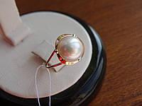 Кольцо серебряное с золотой вставкой и жемчугом, фото 1