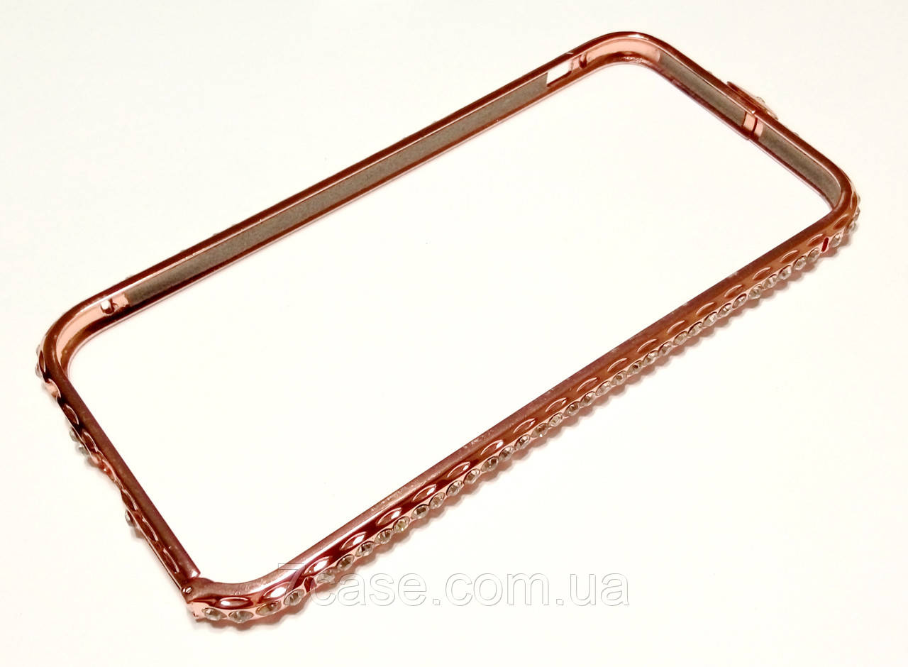Чехол бампер для iPhone 6 / 6s металлический с камнями розовое золото