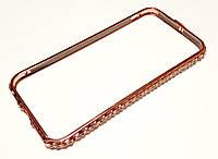 Чехол бампер для iPhone 6 / 6s металлический с камнями розовое золото, фото 1