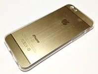 """Чехол для iPhone 6 / 6s силиконовый """"под алюминий"""" золотой"""