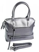 Красивая женская сумка саквояж 673 темно-серая