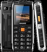 Uhans V5 black (черный) Защищенный телефон c аккум 2500 мАч, 2 SIM, фонарик, громкий динамик функция PowerBank