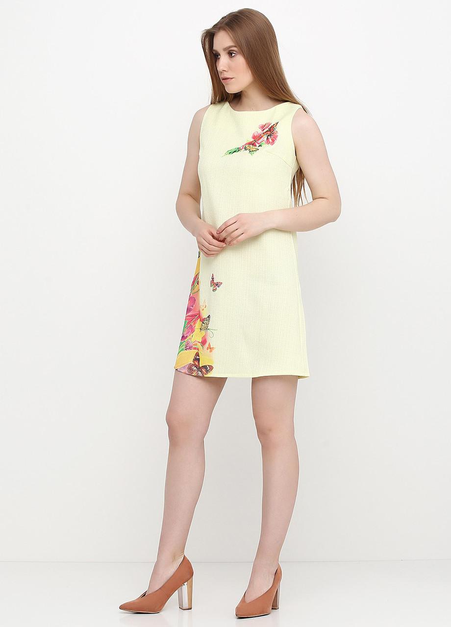 Платье женское из льна летнее с цветочным принтом (светло-жёлтый)