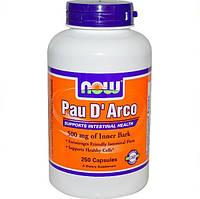 Пау Д'арко (Pau D'Arco), (По Д'арко) кора муравьиного дерева, 250 таблеток, 500 мг, Now Foods