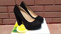 Модельные женские туфли-замш.черного цвета на каблуке.р.38. 38