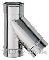 Дымоходный тройник 45гр.130мм толщиной 1,0 мм/304