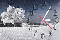 """Часы-картина """"Зима"""" 30х60 см оригинальный подарок на Новый год"""