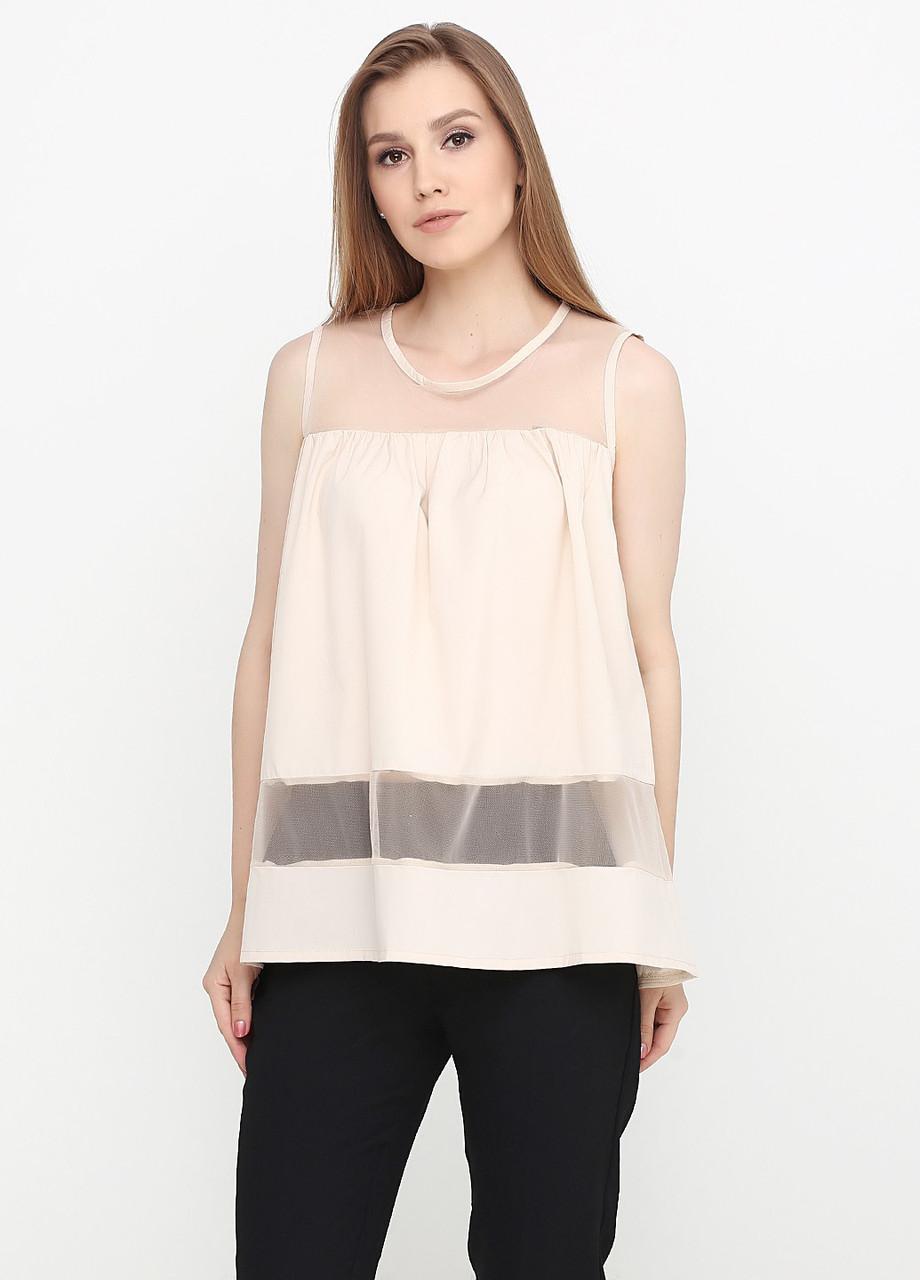 Лёгкая женская блузка со вставками из евросетки (светло-бежевый)