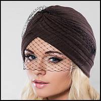 Модная оригинальная женская шапка с вуалью в виде чалмы PK-611, фото 1