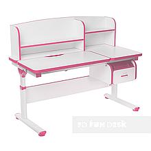 Регулируемая парта с надстройкой FunDesk Creare Pink и выдвижным ящиком