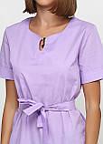 Блуза жіноча з поясом однотонна (бузковий, бузок), фото 3