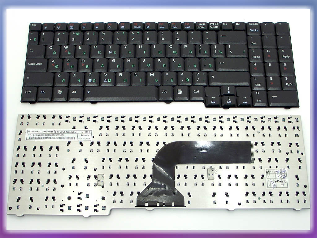 Клавиатура ASUS X55 ( Ru Black без креплений!). MP-03753SU65286 04GNLK