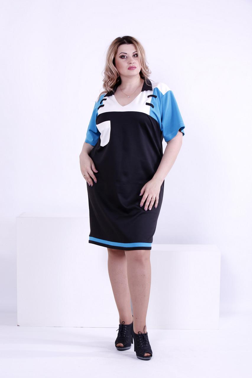 Комбинированное трехцветное платье из трикотажа | 0871-1