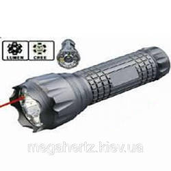 Тактический фонарик с лазером и 3мя цветами 102-10