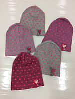 Детские демисезонные трикотажные шапки для девочек, р.40-42, AS-BOR (Польша)