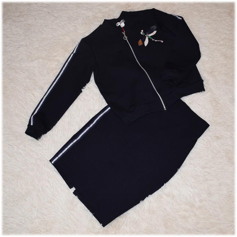 Костюм школьный для девочки (кофта - бомбер + юбка) 158