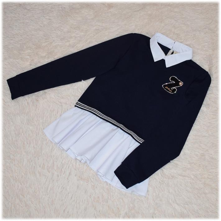 Кофта-обманка школьная для девочки синяя  164
