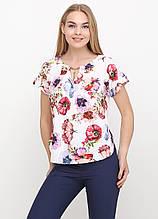 Блузка женская с цветочным принтом (белый)