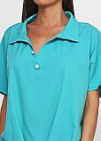 Блузка женская свободного покроя с коротким рукавом (бирюзовый, морской волны), фото 3