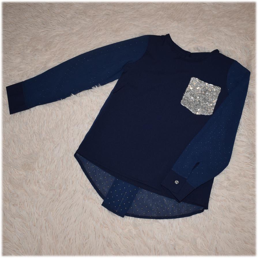 Блуза школьная с длинным рукавом синяя для девочки  134 146