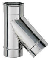 Димохідний трійник 45гр.120мм товщиною 0,5 мм/304 утеплений в нержавіючому кожусі