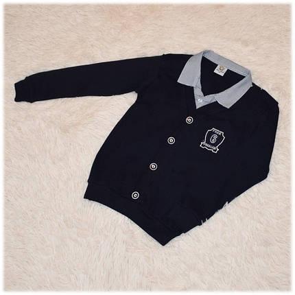 Кофта - обманка школьная на мальчика синяя размер 134 140 146 152, фото 2