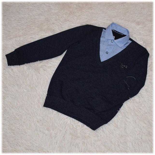 Кофта - обманка школьная на мальчика синяя размер 110 116