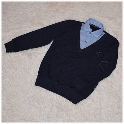Кофта - обманка школьная на мальчика синяя размер 110 116, фото 2