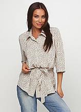 Сорочка, Блузка з коротким рукавом, вільного покрою з поясом (світло-бежевий)