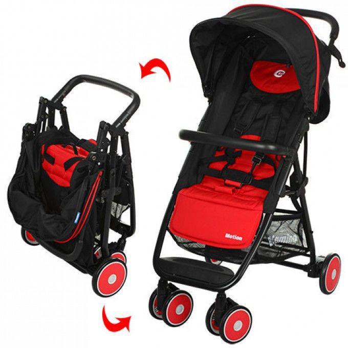 Детская прогулочная коляска Motion красная (M 3295-3)