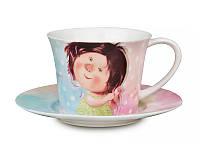 """Чашка с блюдцем 200 мл. фарфоровая """"Это моя чашечка-это мои конфетки"""" Гапичинская"""