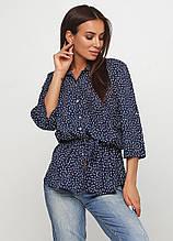 Сорочка, Блузка з коротким рукавом, вільного покрою з поясом (темно-синій)