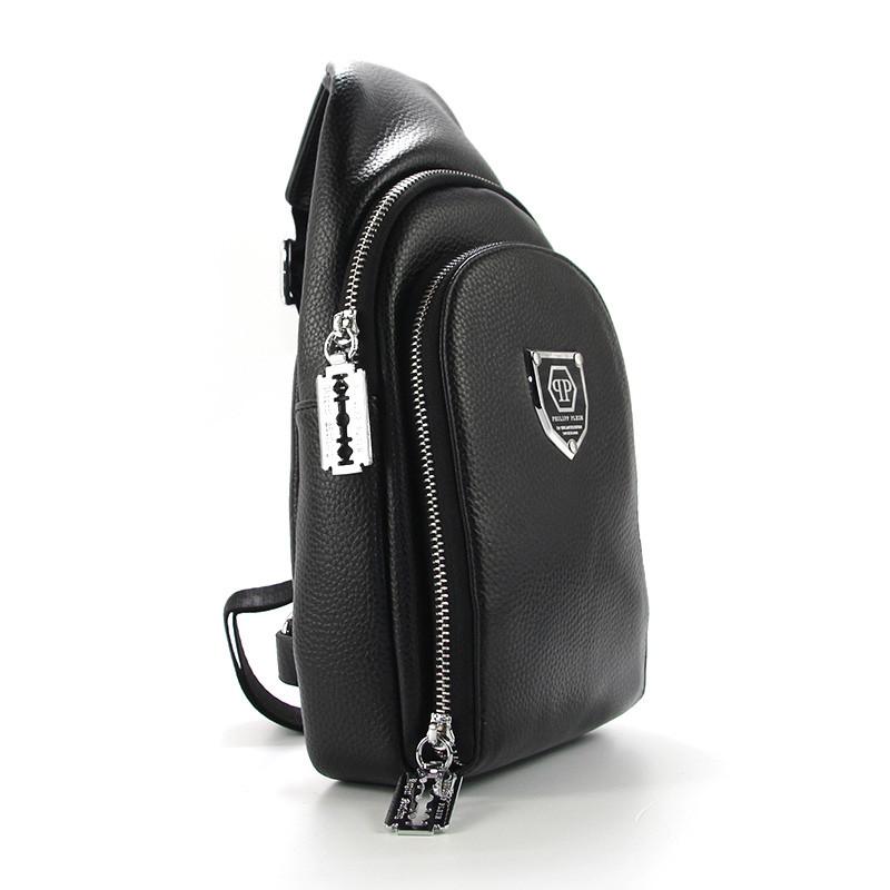 Рюкзак на одно плечо кожзам черный Philipp Plein 826