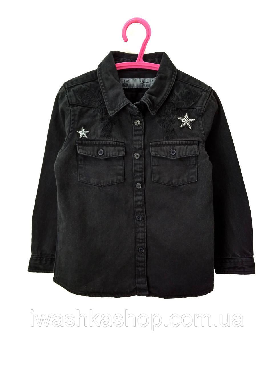 Черная джинсовая рубашка для девочки 8 - 9 лет, Primark р. 134