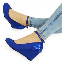 Синие женские туфли на танкетке с ремешком 36 размер