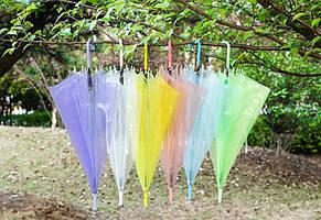 Большие силиконовые прозрачные зонты В виде трости Красочные оттенки Оригинальный аксессуар Код: КГ5265