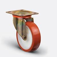 Поворотное колесо диаметром 100 мм с полиуретановым контактным слоем и с шариковым подшипником нагрузка 200 кг