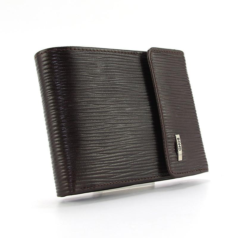 Кошелек мужской кожаный коричневый карты, монеты Bond Non 543-25 Турция