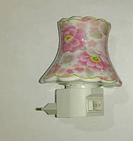"""Ночная лампа (ночник) керамический """"Цветы"""" (10,8 * 7,4 * 9,2 см.)"""