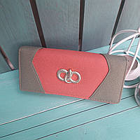 Женский кошелек на магните морковного цвета, фото 1