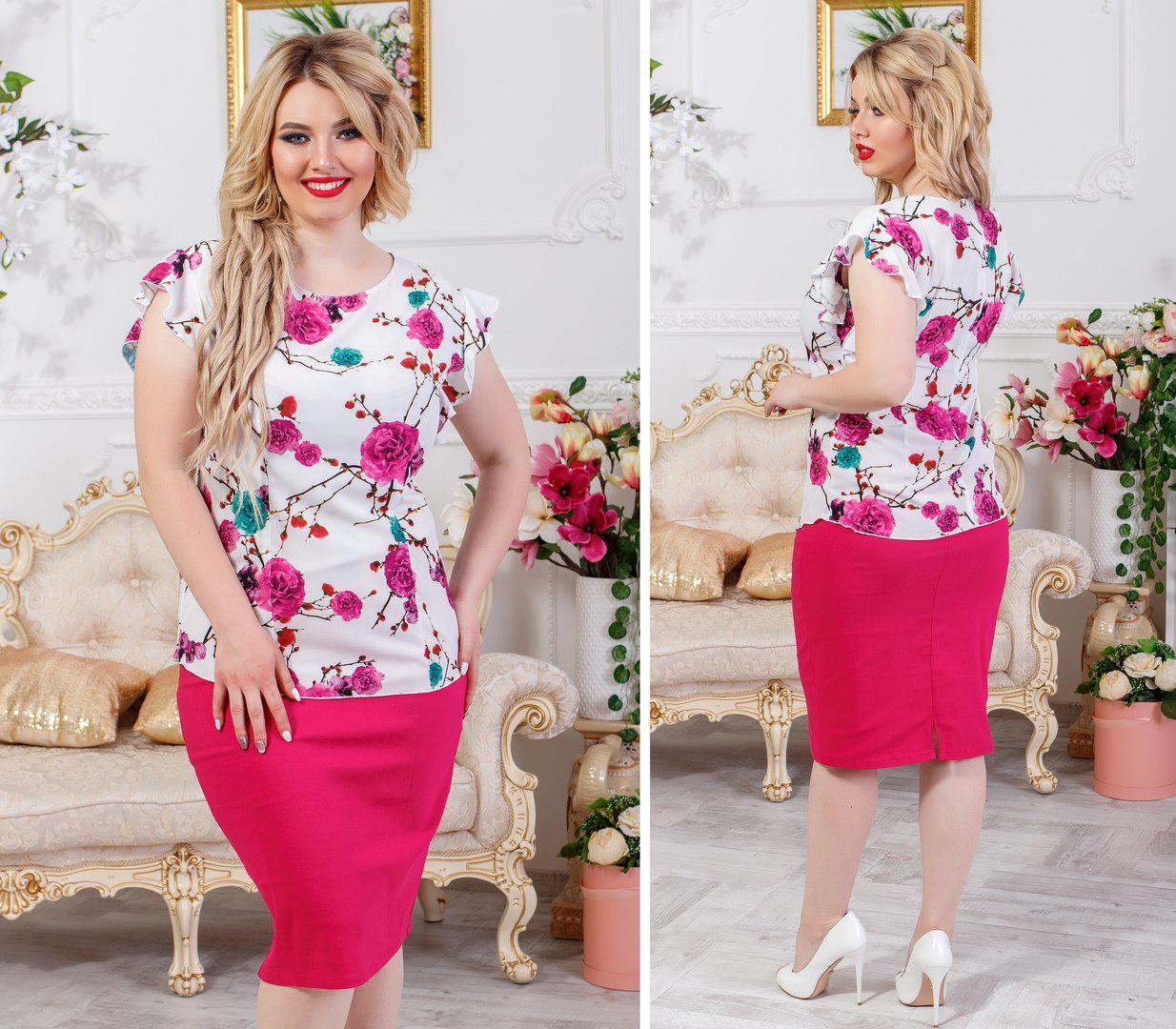b5fac61259b Женский красивый летний костюм юбка и блуза большого размера до 54 ...