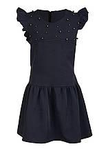 Детский школьный модный сарафан с бусинками, синий черный, р.116-134