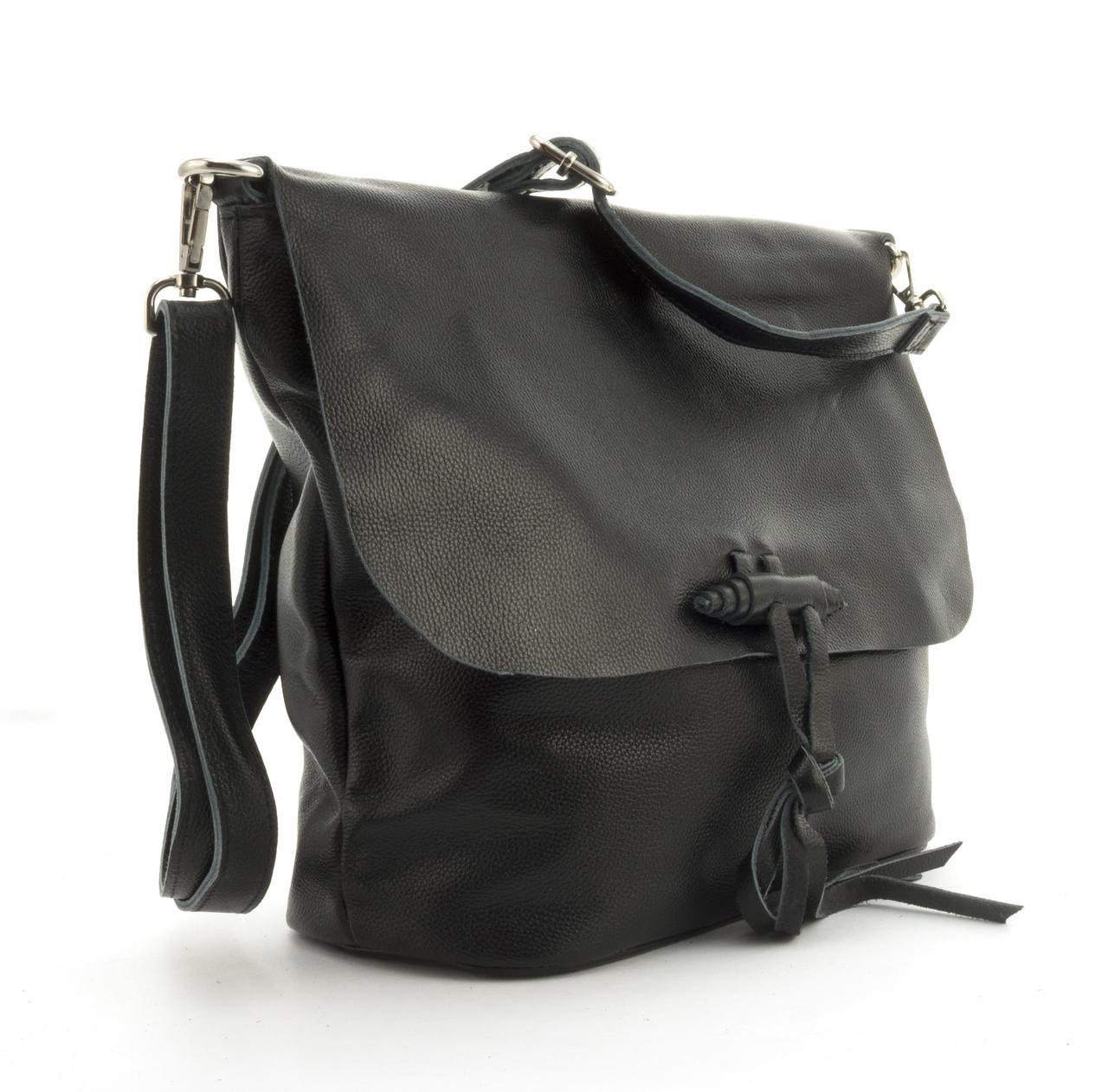 Суперстильная мягкая кожана прочная женская сумка среднего размера GALANTY art. 10490 черная