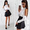 Костюм модный классический белая шелковая блуза и замшевая юбка мини 6Kb929