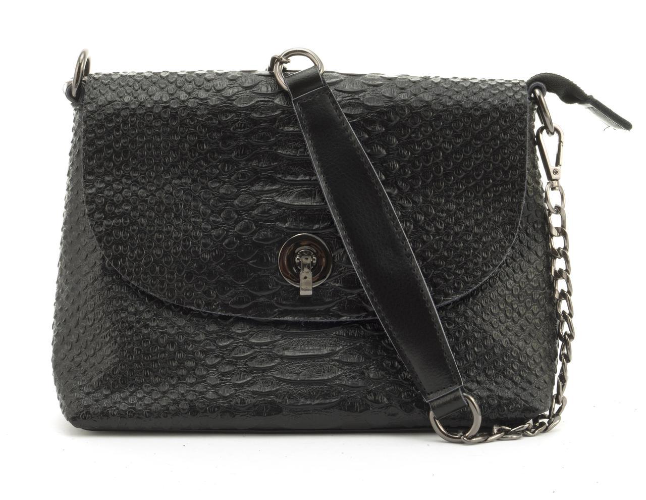 Маленькая стильная кожаная женская сумочка с тиснением под рептилию GALANTY art. 1030 черная
